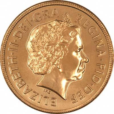 Obverse of 2001 Gold Uncirculated Sovereign