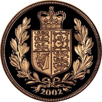 Crowned Shield in Wreath on Reverse of 2002 Golden Jubilee Issue Proof Sovereign