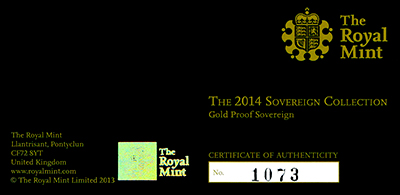 Obverse of 2014 Gold Proof Sovereign Certificate