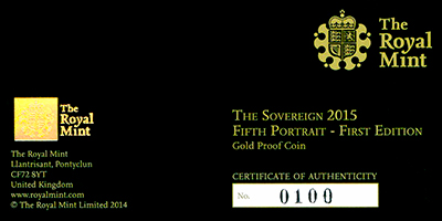 2015 Gold Proof Sovereign Outer Presentation Box
