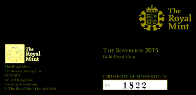 2015 Gold Proof Sovereign Certificate Obverse