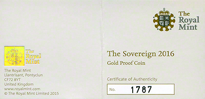 2016 Gold Proof Sovereign Certificate Obverse