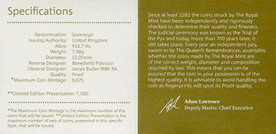 2016 Gold Proof Sovereign Certificate Reverse