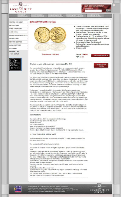London Mint Office's Linked 2009 Gold Sovereign Page