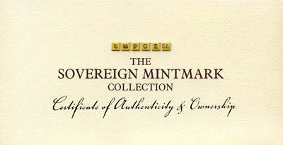 Sovereign Mintmark Collection Certificate of Authenticity & Ownership