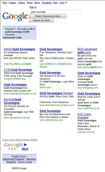 Google Sponsored Link Search Result for 'Gold Sovereign'