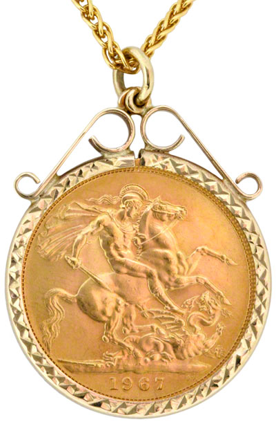 Gold sovereign in gold pendant necklet obverse of scroll top sovereign pendant aloadofball Images
