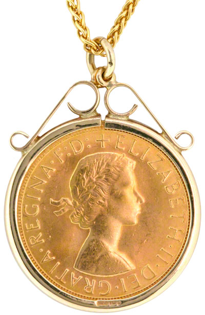 Gold sovereign in gold pendant necklet reverse of scroll top sovereign pendant aloadofball Images
