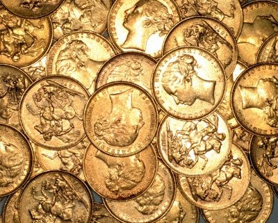 Pile of Victorian Young Head Sovereigns